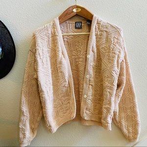 GAP Vtg cotton cardigan sweater pink 80s m